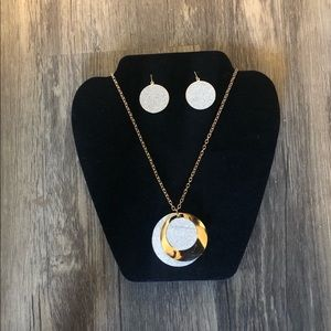 Gold & Silver Necklace with Earrings